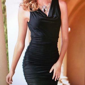 Black slim ruched dress!